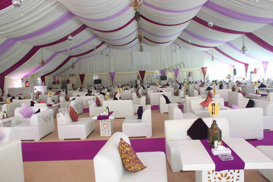 Luxury wedding tent with ceiling decoration installed in Dubai
