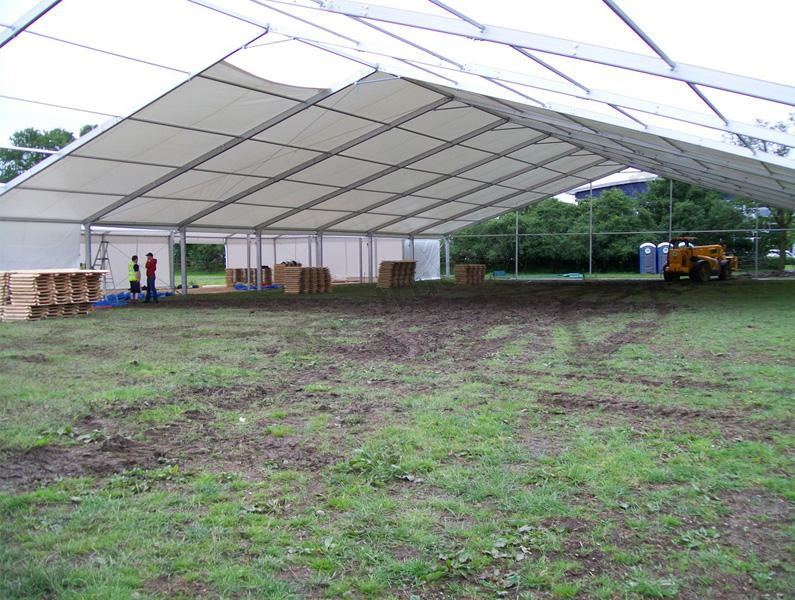 Large aluminium warehouse tent
