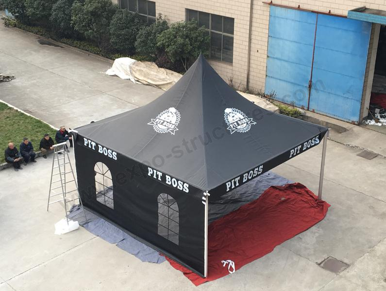 Black Pagoda Tent with Logo Print