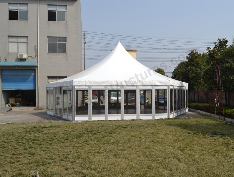 12m diameter Hexagonal Tent with glass wall