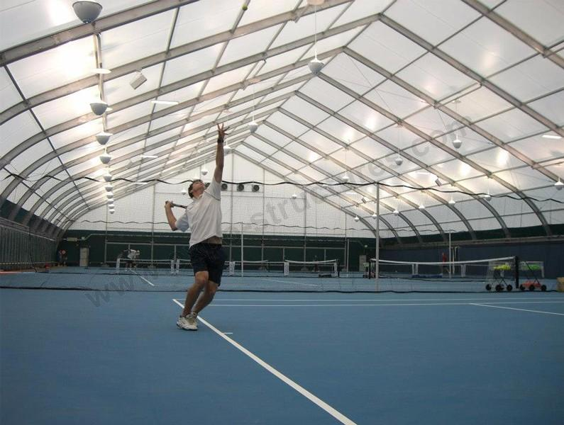 Semi-permanent Curved Roof Tent for Tennis Court