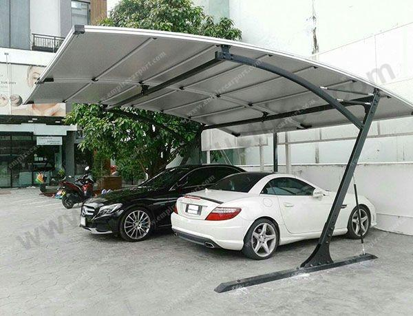wind resistant 2 cars carport at Gray color