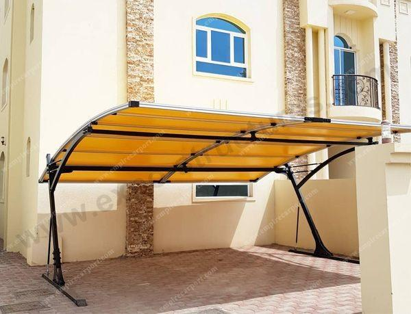 Yellow double carport for 2 cars